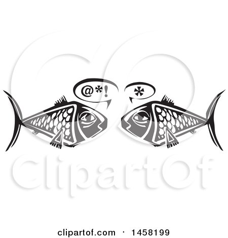 Clipart of a Woodcut Styled Owl Pair of Fish Talking, in Black and White - Royalty Free Vector Illustration by xunantunich