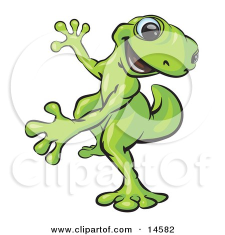 Happy Green Gecko Dancing And Looking Back Over His Shoulder Clipart Illustration by Leo Blanchette