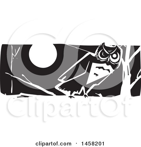 Clipart of a Woodcut Styled Owl on a Branch at Night, in Black and White - Royalty Free Vector Illustration by xunantunich