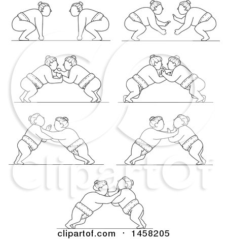 Clipart of Matches Between Sumo Wrestlers in Black and White Lineart Style - Royalty Free Vector Illustration by patrimonio