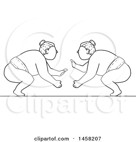 Clipart of a Match Between Sumo Wrestlers in Black and White Lineart Style - Royalty Free Vector Illustration by patrimonio