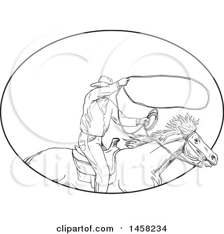 Clipart of a Roping Cowboy with a Lasso on Horseback, in Sketched Black and White Style Within an Oval - Royalty Free Vector Illustration by patrimonio