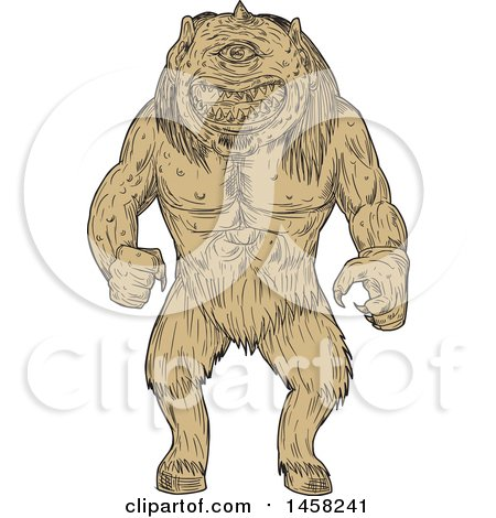 Clipart of a Cyclops, in Tan Sketch Style - Royalty Free Vector Illustration by patrimonio