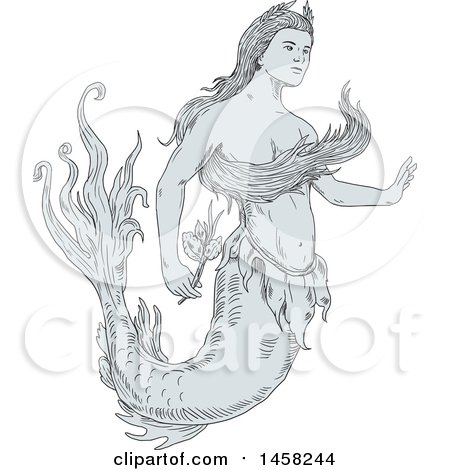 Clipart of a Beautiful Mermaid Holding a Flower, in Sketch Style - Royalty Free Vector Illustration by patrimonio