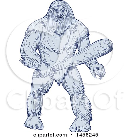 Clipart of a Bigfoot or Sasquatch Holding a Club, in Blue Sketch Style - Royalty Free Vector Illustration by patrimonio