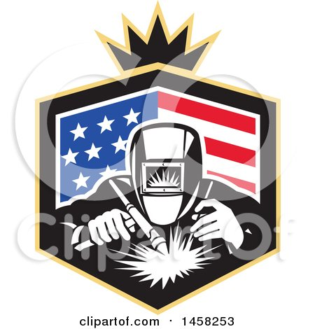 Clipart of a Retro Welder Worker in an American Flag Shield with a Crown - Royalty Free Vector Illustration by patrimonio