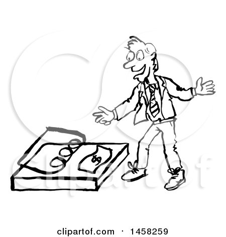 Sketched Business Man Reaching for a Dollar in a Trap, in Black and White Posters, Art Prints