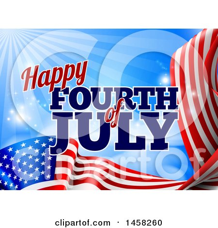 Clipart of a 3d American Flag and Fourth of July Text over Blue Sky with Flares - Royalty Free Vector Illustration by AtStockIllustration