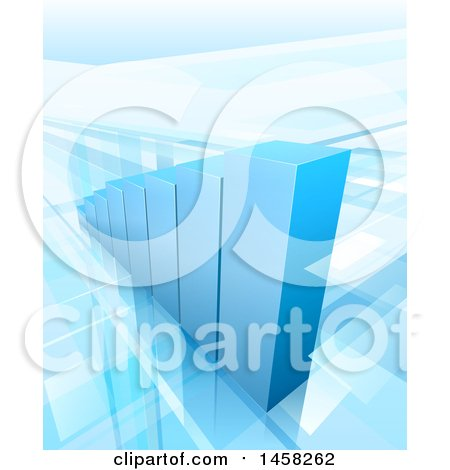 Clipart of a 3d Blue Growing Bar Graph - Royalty Free Vector Illustration by AtStockIllustration