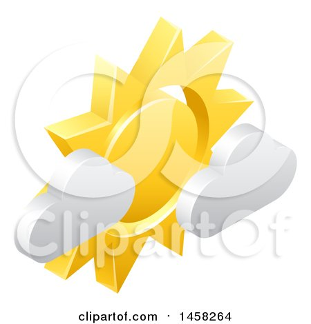 Clipart of a 3d Sun and Cloud Weather Icon - Royalty Free Vector Illustration by AtStockIllustration