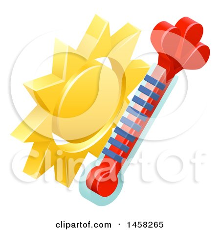 Clipart of a 3d Sun and Thermometer Weather Icon - Royalty Free Vector Illustration by AtStockIllustration