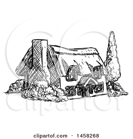 Clipart of a Sketched Country Cottage House in Black and White - Royalty Free Vector Illustration by AtStockIllustration