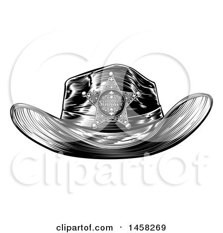 Clipart of a Black and White Vintage Engraved Sheriff Hat - Royalty Free Vector Illustration by AtStockIllustration