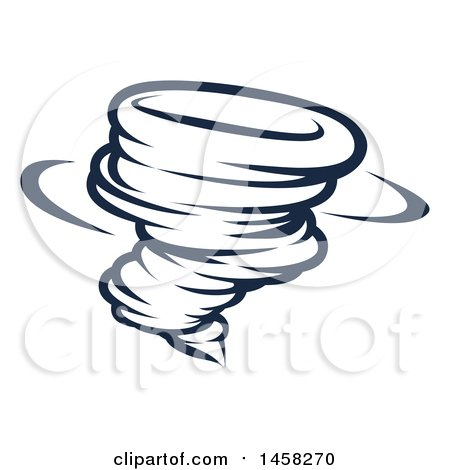 Clipart of a Black and White Spinning Tornado Twister - Royalty Free Vector Illustration by AtStockIllustration