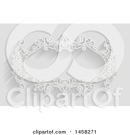 Clipart of a White Ornate Vintage Floral Frame, on Gray with Shadows - Royalty Free Vector Illustration by AtStockIllustration
