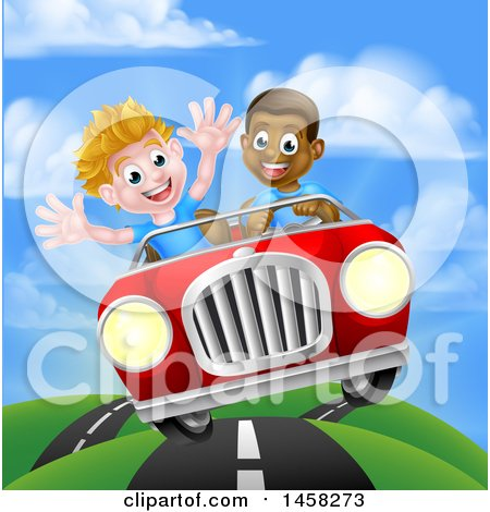 Clipart of a Happy Black Boy Driving a White Boy and Catching Air in a Convertible Car - Royalty Free Vector Illustration by AtStockIllustration