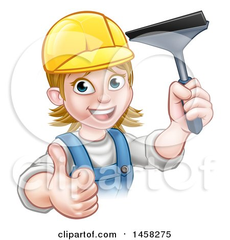 Clipart of a Cartoon Happy White Female Window Cleaner in Blue, Giving a Thumb up and Holding a Squeegee - Royalty Free Vector Illustration by AtStockIllustration