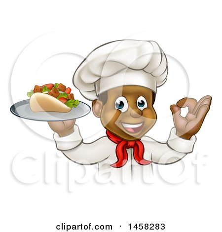 Clipart of a Cartoon Black Male Chef Holding a Souvlaki Kebab Sandwich on a Tray and Gesturing Perfect - Royalty Free Vector Illustration by AtStockIllustration