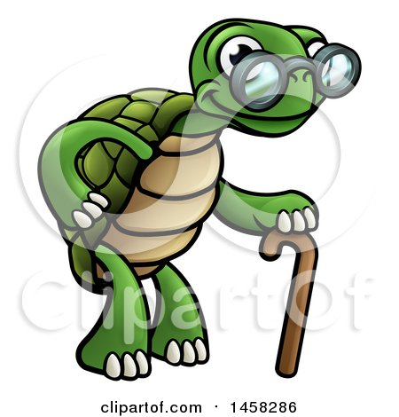 Cartoon Happy Old Tortoise Walking with a Cane Posters, Art Prints