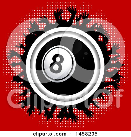Clipart of a 3d Eightball Encircled with a Silhouetted Crowd on Red - Royalty Free Vector Illustration by elaineitalia