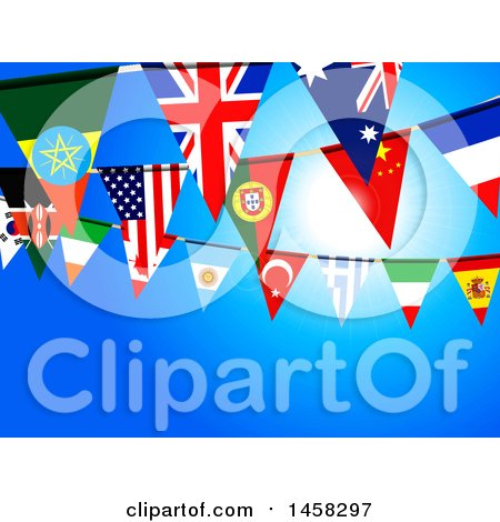 Clipart of a Background of Bunting Flag Banners Against Blue - Royalty Free Vector Illustration by elaineitalia