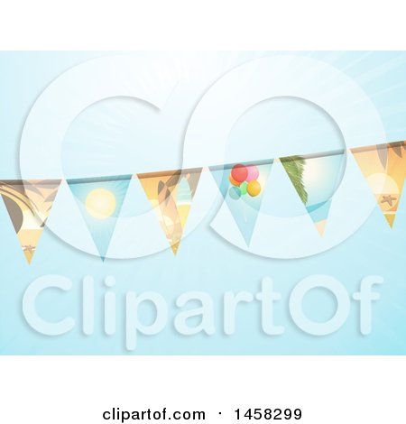 Clipart of a Bunting Banner with Summer Scene Flags - Royalty Free Vector Illustration by elaineitalia