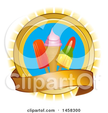 Clipart of a Circle with Popsicles and Ice Cream over Rays, with a Banner - Royalty Free Vector Illustration by elaineitalia