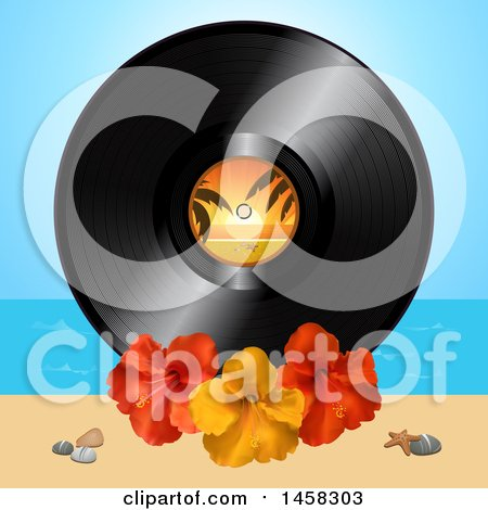 Clipart of a Vinyl Record Album with Hibiscus Flowers on a Beach - Royalty Free Vector Illustration by elaineitalia