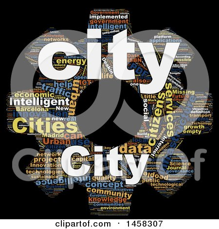 Clipart of a Smart City Gear Word Cloud on a Black Background - Royalty Free Illustration by MacX