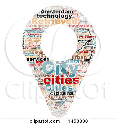 Clipart of a Smart City Map Pin Word Cloud on a White Background - Royalty Free Illustration by MacX