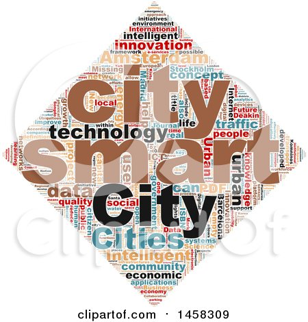 Clipart of a Smart City Diamond Word Cloud on a White Background - Royalty Free Illustration by MacX
