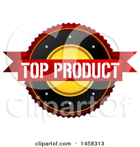 Clipart of a Top Product Quality Badge, on a White Background - Royalty Free Illustration by MacX