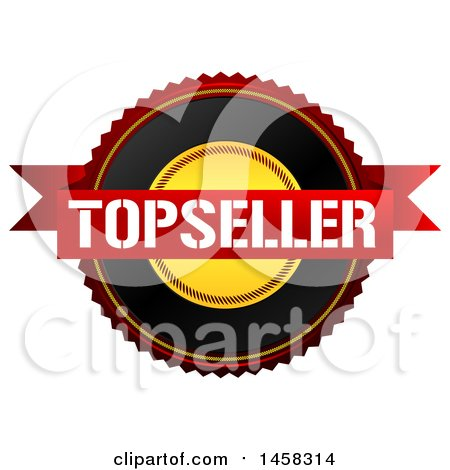 Clipart of a Top Seller Quality Badge, on a White Background - Royalty Free Illustration by MacX