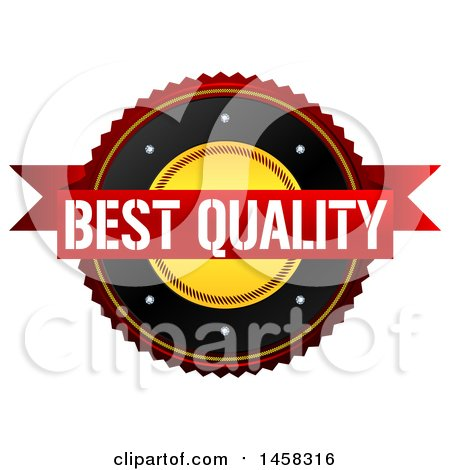 Clipart of a Best Quality Badge, on a White Background - Royalty Free Illustration by MacX