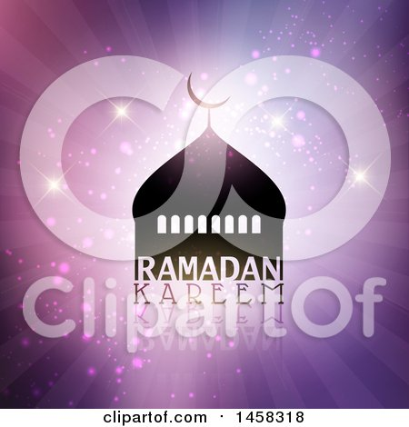 Clipart of a Silhouetted Mosque with Ramadan Kareem Text over Purple Rays and Sparkles - Royalty Free Vector Illustration by KJ Pargeter