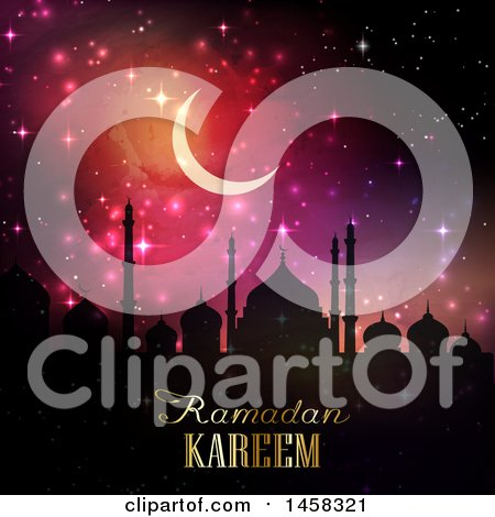 Clipart of a Silhouetted Mosque with Ramadan Kareem Text, a Moon and Sparkles - Royalty Free Vector Illustration by KJ Pargeter