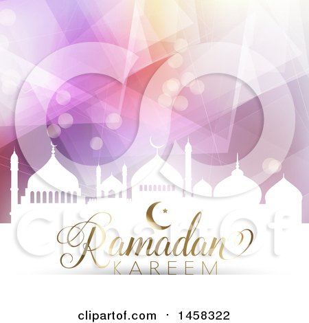 Clipart of a Silhouetted Mosque with Ramadan Kareem Text over a Geometric Background - Royalty Free Vector Illustration by KJ Pargeter