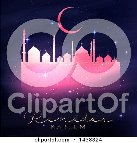 Clipart of a Silhouetted Sparkly Pink Mosque with Ramadan Kareem Text - Royalty Free Vector Illustration by KJ Pargeter