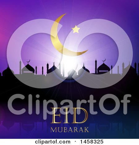 Clipart of a Silhouetted Mosque with Eid Mubarak Text Under a Moon - Royalty Free Vector Illustration by KJ Pargeter