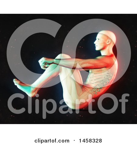 Clipart of a 3d Medical Male Figure Doing Sit Ups, with Dual Color Effect over Black - Royalty Free Illustration by KJ Pargeter