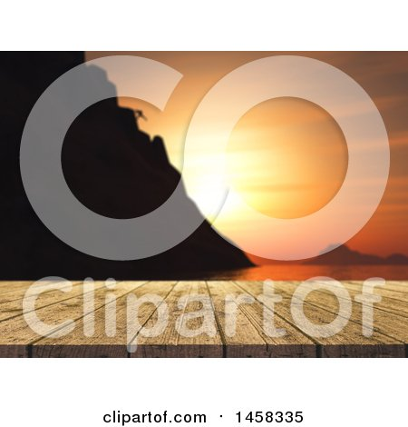 Clipart of a 3d Wood Table Against a Blurred Mountain Climber and Ocean Sunset - Royalty Free Illustration by KJ Pargeter