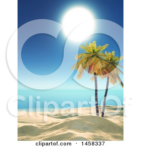 Clipart of a 3d White Sandy Tropical Beach with Palm Trees and a Sunny Sky - Royalty Free Illustration by KJ Pargeter