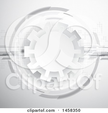 Clipart of a Grayscale Gear and Dots Background - Royalty Free Vector Illustration by KJ Pargeter