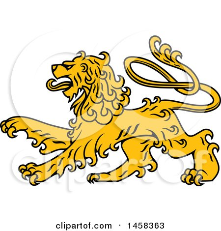Clipart of a Golden Yellow Heraldic Lion - Royalty Free Vector Illustration by Vector Tradition SM