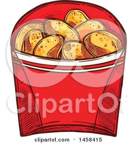 Clipart of a Carton of Potato Chips in Sketched Style - Royalty Free Vector Illustration by Vector Tradition SM