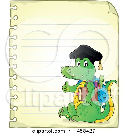 Clipart of a Crocodile Student Giving a Thumb up on Ruled Paper - Royalty Free Vector Illustration by visekart