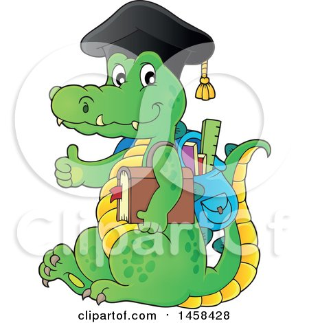 Clipart of a Crocodile Student Wearing a Graduation Cap and Giving a Thumb up - Royalty Free Vector Illustration by visekart