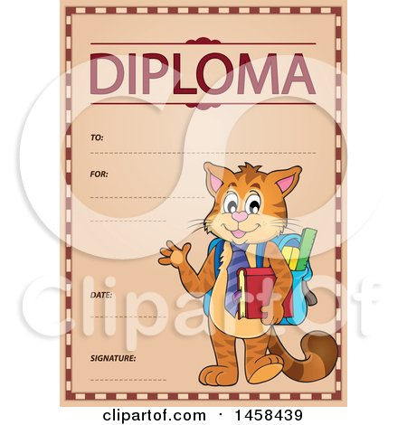 Clipart of a School Diploma Design with a Student Cat - Royalty Free Vector Illustration by visekart