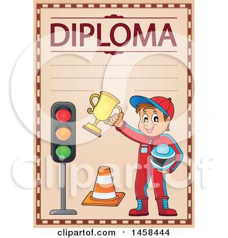 Clipart of a School Diploma Design with a Racer Boy - Royalty Free Vector Illustration by visekart