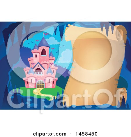 Clipart of a Parchment Scroll in a Cave near a Pink Castle - Royalty Free Vector Illustration by visekart
